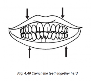4.40 clench the teeth together hard