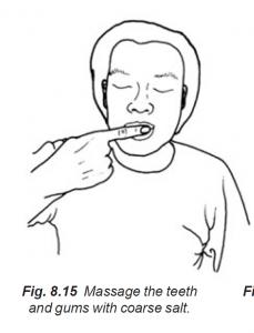 8.15 massage teeth & gums with coarse salt