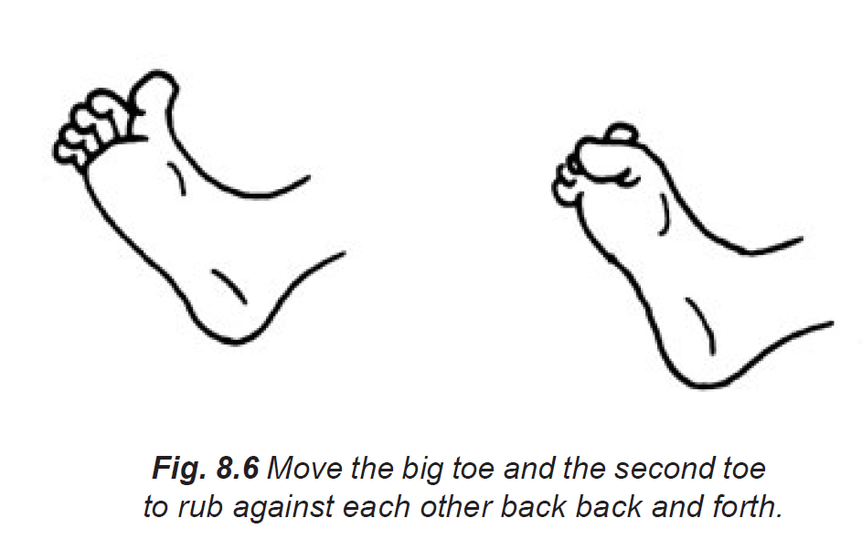 8.6 move big & second toe to rub against each other back & forth